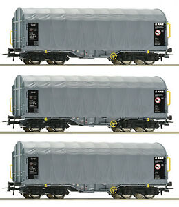 Roco-H0-76442-S-Schiebeplanenwagen-034-Shimmns-034-der-AAE-SSAB-3-Stueck-NEU-OVP