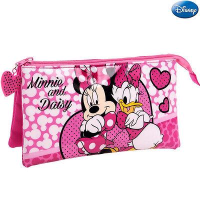 Astuccio 3 Posti Chiusura Zip Portapenne Porta Matite Pvc Minnie & Daisy Disney