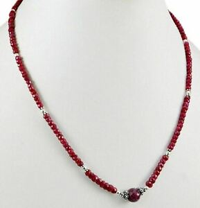 94ct-Natural-Red-Ruby-Gemstone-925-Sterling-Silver-Beads-Strings-Necklace-Clasp
