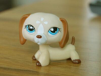 Littlest Pet Shop LPS #1491 Tan Cream White Dachshund Dog Puppy Blue Eyes