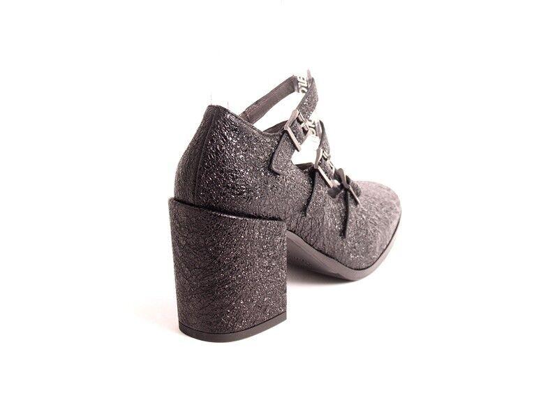 Laura Bellariva Bellariva Laura 9251 Negro Estampado De Cuero Mary Jane Tacones Zapatos 39 US 9 e8bb23