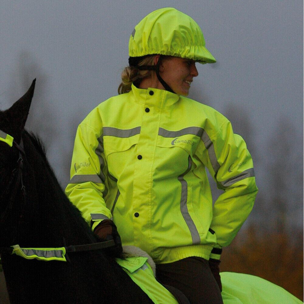Luna Rider, colchones reflectores amarillos, impermeables, chaquetas para montar.