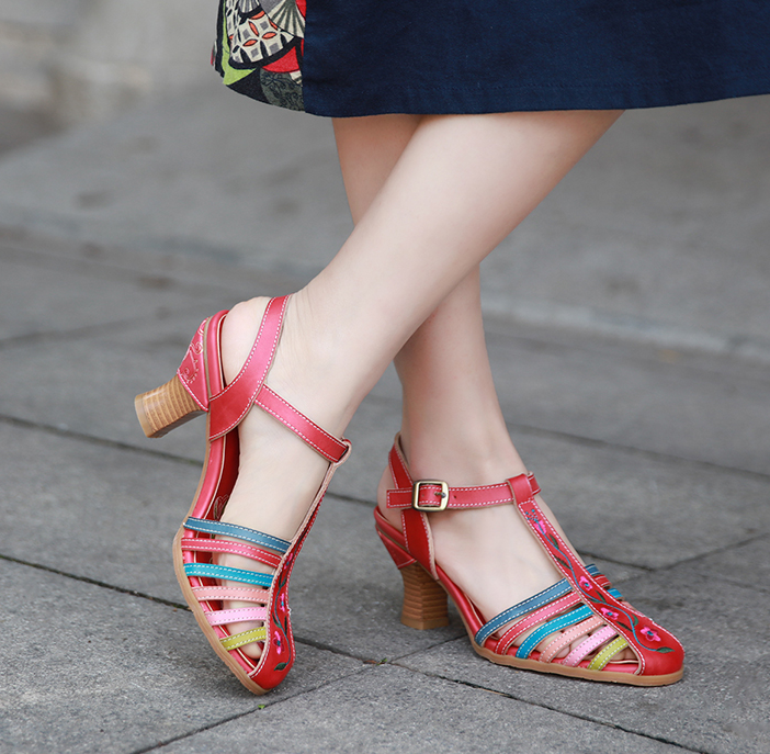Donna Real Leather Ethnic Buckle Buckle Buckle Strap Sandals Closed Toe Slingbacks Vintage 338d7f