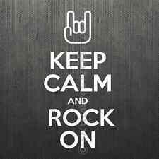 Keep Calm Rock On Bumper Sticker Vinyl Decal Electric Guitar Metal Music ACDC