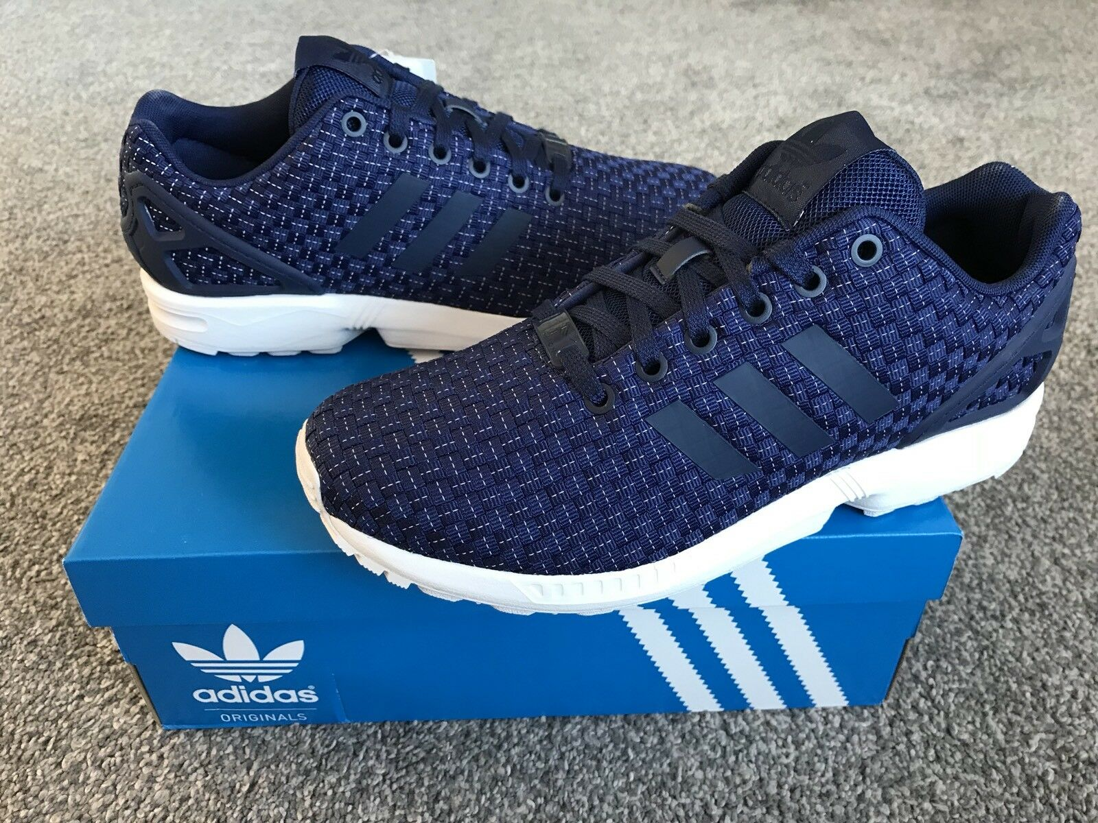 ADIDAS ZX Flux Woven Mens Trainers, Deep Blue - Comfortable Seasonal clearance sale
