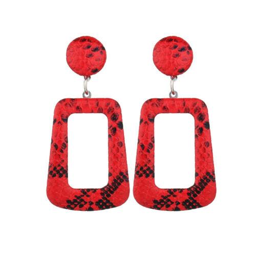 Vintage Femmes Peau de Serpent à motifs géométriques Long Dangle Earrings Fashion Jewelry 1 paire