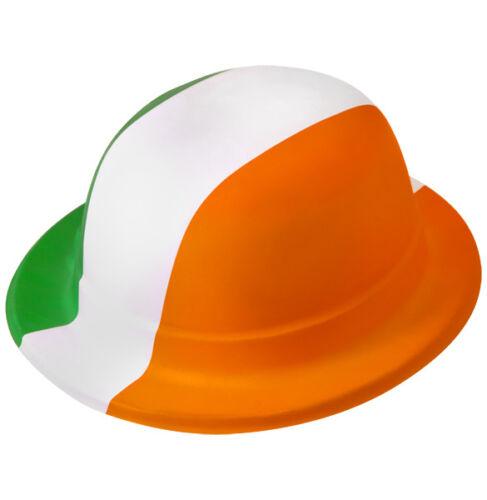 5//10//15x Green//Orange//White Plastic Bowler Hat Irish Eire St Patricks Day