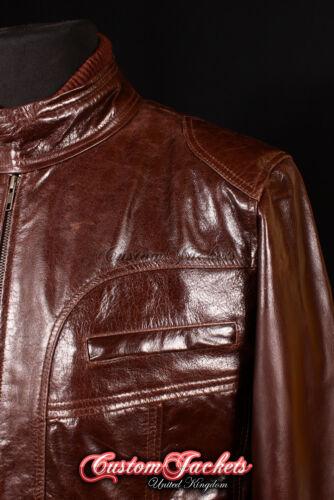 Hudson Uomo Marrone anni/'80 Retrò Rockstar Oasis Pelle di Agnello Reale Giacca in Pelle 7173