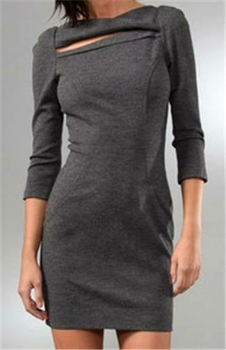 DVF Diane Von Furstenberg SLASHED ARITA Heather Grey Felted Wool Dress 14 $425