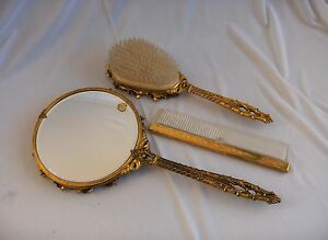 Globe-Hollywood-Regency-24K-Gold-Plated-Mirror-Brush-Comb-Vanity-Set-NICE