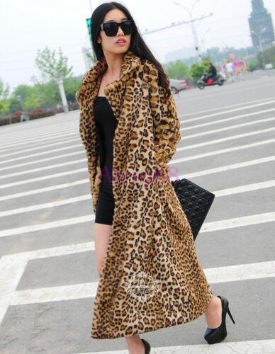 Oversize Women Ladies Long Faux Fur Coat Lapel Winter Coat Outwear Coat Warm XL