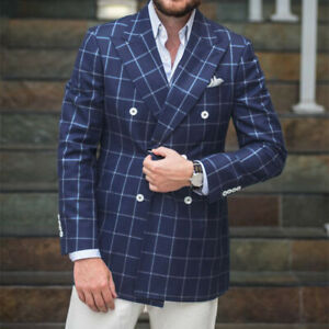 Blue-Plaid-Men-039-s-Coat-Double-Breasted-Jacket-Blazer-Party-Prom-Slim-Fit-Tailored