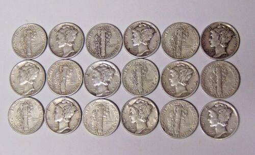 Set of 18 World War II Mercury Silver Dimes 1940-1945 All 18 Silver Dimes F-VF