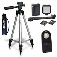 Vivitar 50 Pro Tripod + 36 Video Light Led + Remote For Canon Eos Rebel T3i T5i