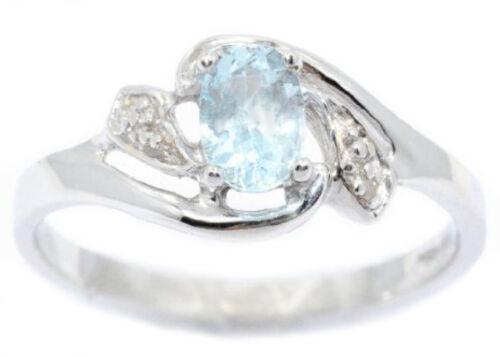 14Kt White Gold Genuine Aquamarine /& Diamond Oval Ring