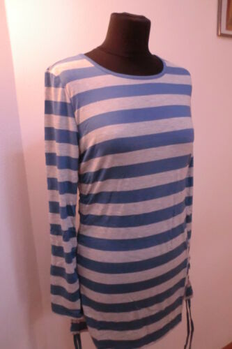 Shirt Long Shirt Cheer gestreift  grau blau Stretch Jersey Gr 42