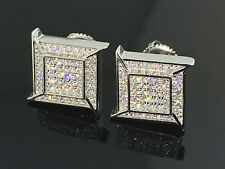 Sterling Silver Fashoin Earrings Mens Pave Set Diamond lab made Screw back 12mm