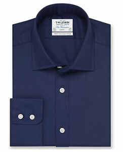 T-M-Lewin-Calce-Ajustado-Camisa-Azul-Marino-Sarga-boton-en-punos