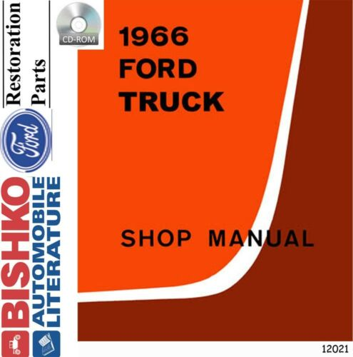 Shop Service Repair Manual CD Engine OEM Except Econoline 1966 Ford Truck