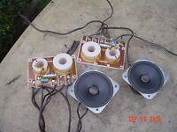 """Pair Vintage 3 1/2"""" Cone Tweeters Stereo Speakers bundle w Pair 3-Way Crossovers"""