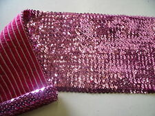 HEAVY STRETCH SEQUIN-PINK -DRESS TRIMMING-FREE P&P