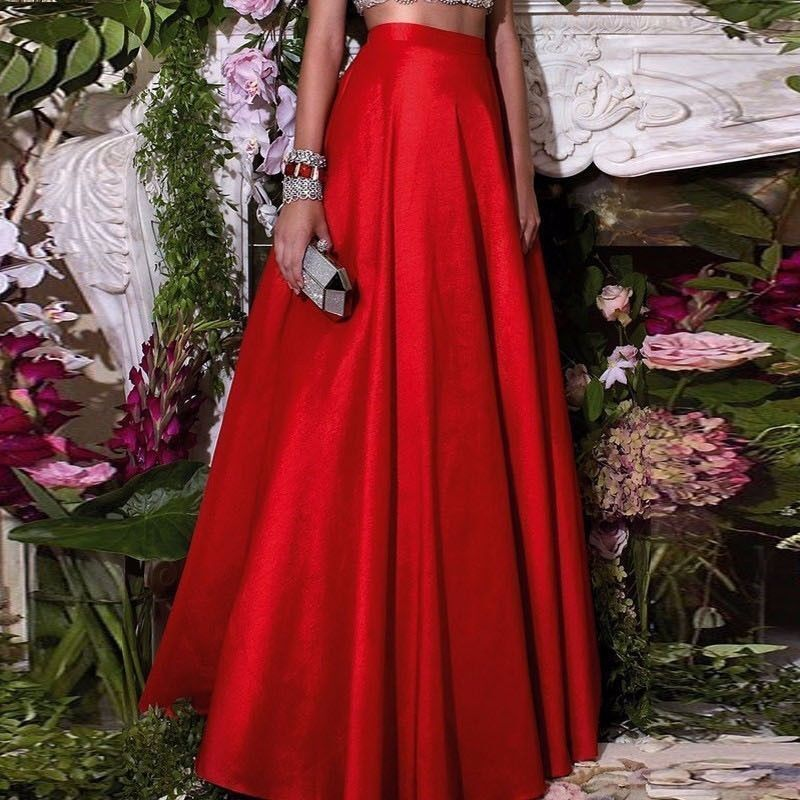 Red Satin Maxi Skirt Wedding Party A Line Long Evening Party Celebrity Skirts