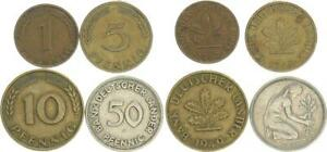 Germany 1 Set Bank Dt.länder- 1949 F 1,5, 10,50 Pfennig VF