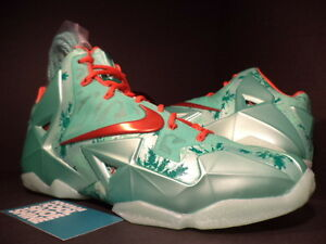 6aaaffe0ccd 2013 Nike LEBRON XI 11 CHRISTMAS GREEN GLOW CRIMSON RED MINT BLACK ...