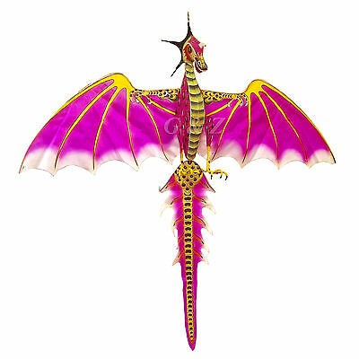 Pink Medium 3D Dragon Kite For Wall Decor or Flying - Chinese Handcrafted Kites