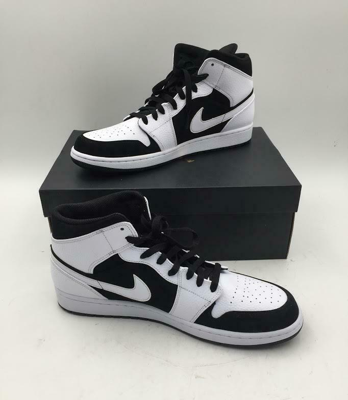 Men's Nike Air Jordan 1 Mid White Black-White 554724113 Size 13