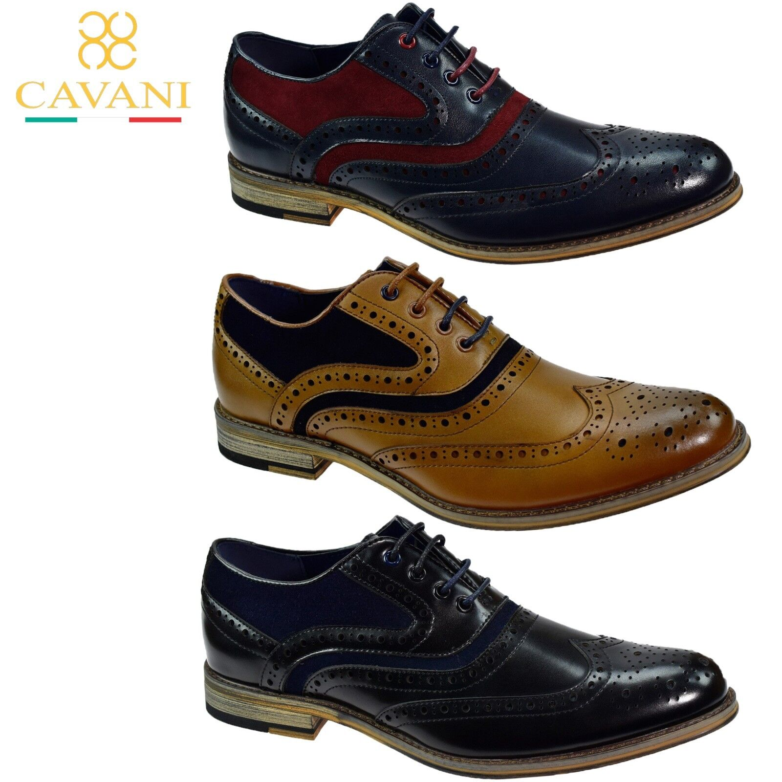 herren Real Leather Italian Brogue Lace Up schuhe By Cavani Formal Wedding Casual