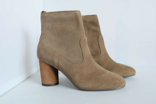 M/&S Stain Away Ankle Boots Khaki Real Suede Round Block Heel with Insolia UK 3
