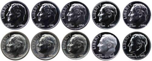 1960-1969 S 90/% Silver Roosevelt Dimes Gem Proof /& SMS Run 10 Coins US Mint