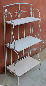 French-Country-Style-Rustic-Cream-Iron-Baker-039-s-Stand-BRAND-NEW