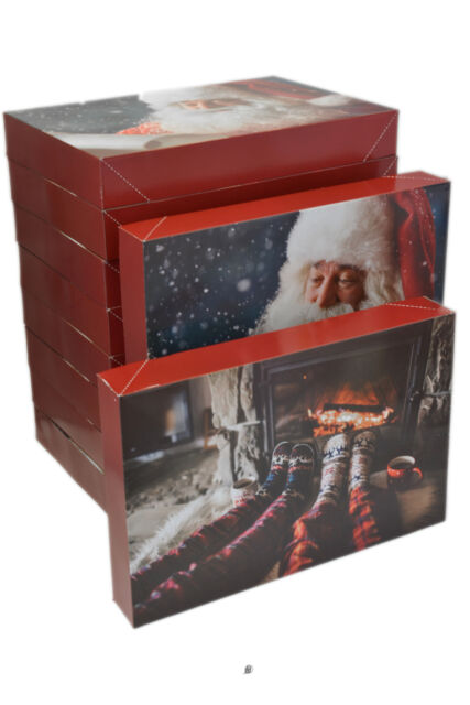 LARGE XMAS CHEST GIFT BOXES SET OF 3 MERRY CHRISTMAS EVE PRESENT FLAT DOME LID