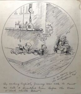 Autograph-Rare-Original-Cartoon-by-Fontaine-Fox-Toonerville-Cartoonist