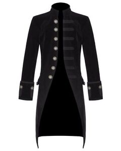 Steampunk gotico Mens Cappotto vittoriano velluto Black Jacket Vintage Tailcoat qHRxwCHZd