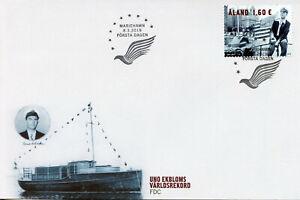 Aland-2019-FDC-alander-uno-ekblom-ATLANTIC-ADVENTURE-1v-COPERCHIO-BARCHE-NAVI-Stamps