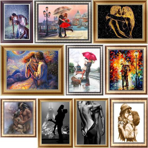 Kiss amante Hágalo usted mismo 5D puntada cruzada de bordado de pintura de Diamante Decoración del Hogar Artesanía