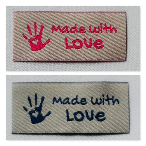 10 Handmade Webetiketten Label Webband Made with Love Mix Aufnäher Label Stoff