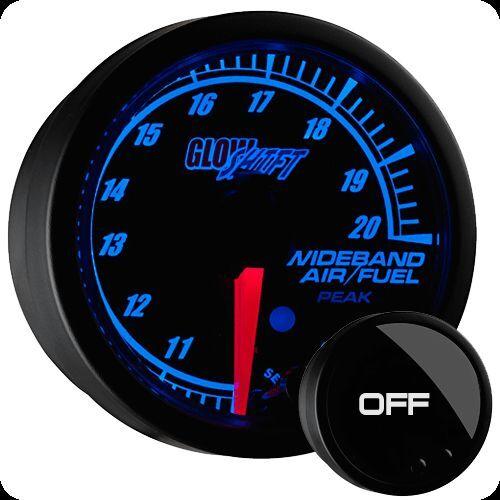 """2 1//16/"""" GlowShift Black Elite 10 Color Wideband Air Fuel Ratio Gauge GS-ET02W"""