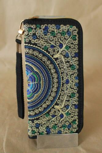 Limited edition Genuine Embroidered Vintage Tribal BOHO wallet clutch purse BLUE