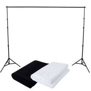 Photography Studio Black + White Muslin Cotton Backdrops Background Stand Kit