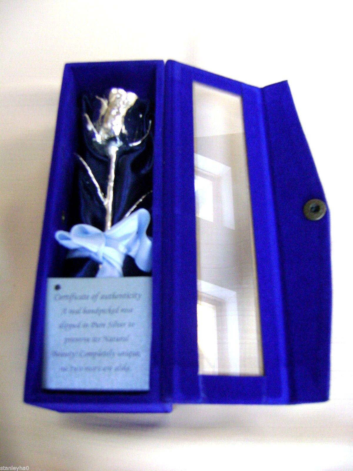 Cadeau de mariage   anniversaire argent trempé véritable rose 6  en velours bleu satin & case