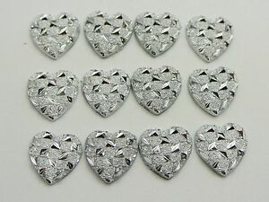 200-Silver-Flatback-Resin-Glitter-Heart-Rhinestone-Cabochons-11X11mm