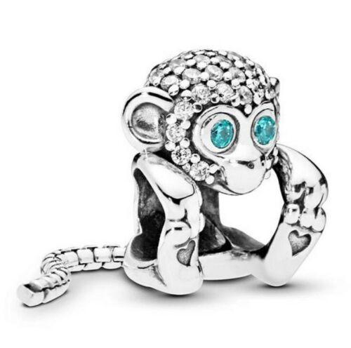 Sterling Silver Bead Charme un long serpent chaîne Tail mousseux singe avec cristal