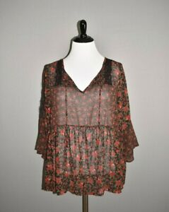 TORRID-NEW-45-Sheer-Floral-Chiffon-Bell-Sleeve-Blouse-Top-2-2X