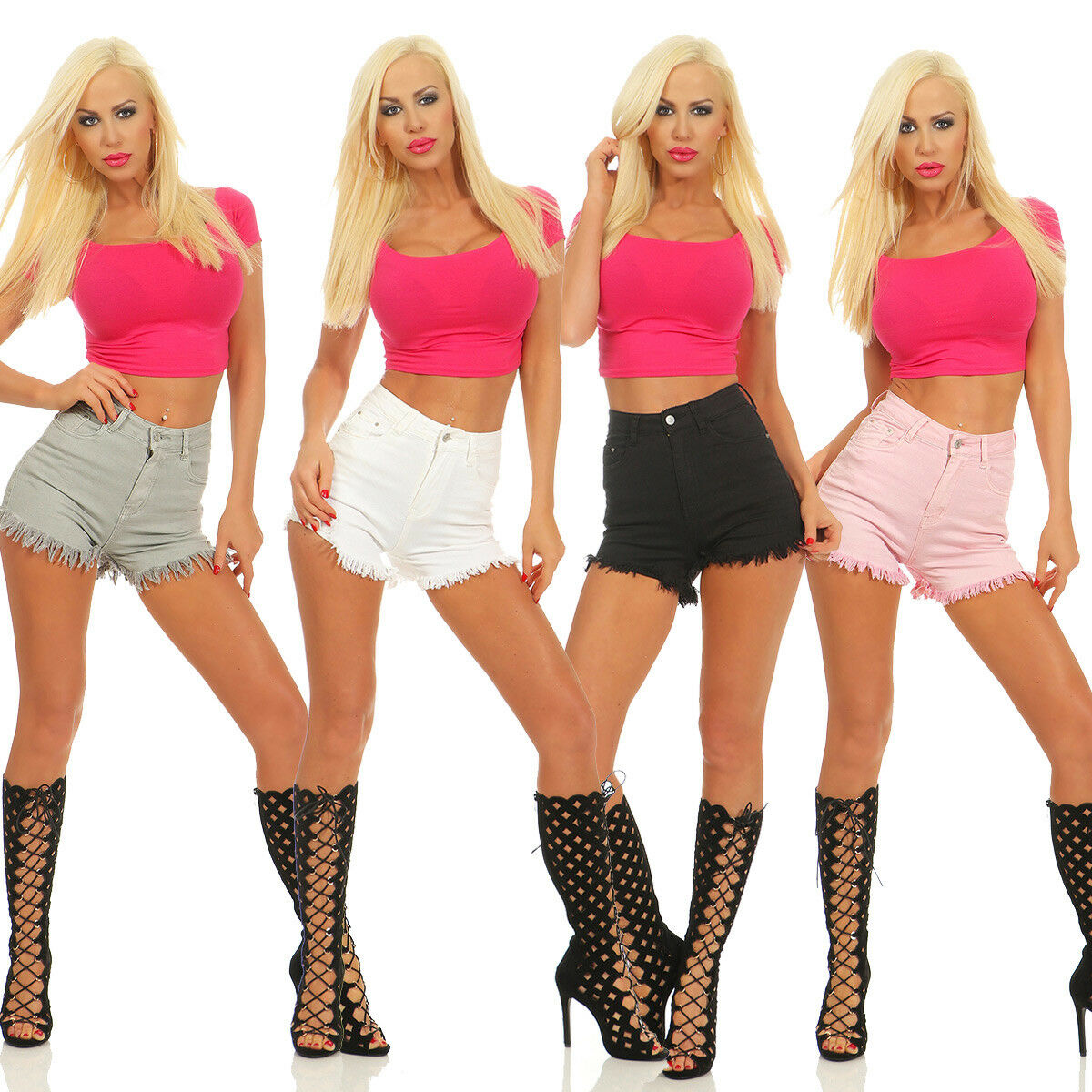 33988 Damen Jeans Hotpants Denim Shorts kurze Hose Hot Pants Jeans High-Waist