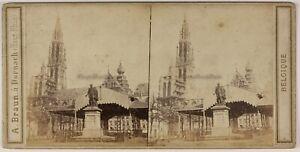 Belgium-Anversa-Place-Foto-Braun-Stereo-L53S1n52-Vintage-Albumina-c1865