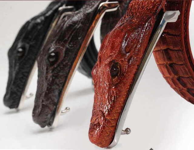 Men Alligator Design Crocodile-Embossed Leather Belts Genuine Cow Leather Belt 9